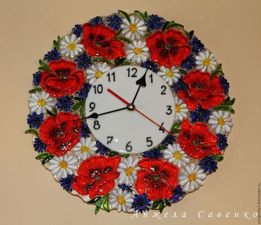 """Часы для дома ручной работы. Ярмарка Мастеров - ручная работа. Купить Часы-фьюзинг """"Маковый букет"""". Handmade. Разноцветный"""