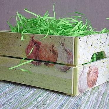 """Для дома и интерьера ручной работы. Ярмарка Мастеров - ручная работа """"Лук"""" Ящичек для овощей, кантри, винтаж, зеленый. Handmade."""