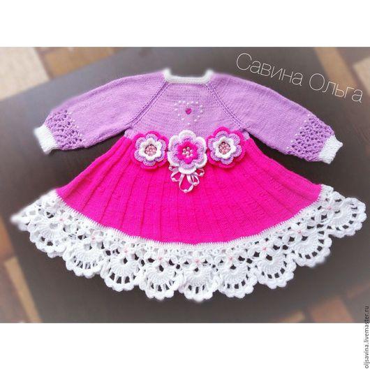 Одежда для девочек, ручной работы. Ярмарка Мастеров - ручная работа. Купить Вязаное платье для маленькой принцессы с длинным рукавом. Без швов.. Handmade.