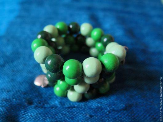 """Браслеты ручной работы. Ярмарка Мастеров - ручная работа. Купить Браслет """"Яблочный пунш"""". Handmade. Зеленый, многорядный браслет"""