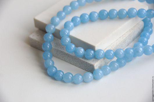 Для украшений ручной работы. Ярмарка Мастеров - ручная работа. Купить Нефрит голубой НЕБО, гладкая бусина 8 мм. Handmade.