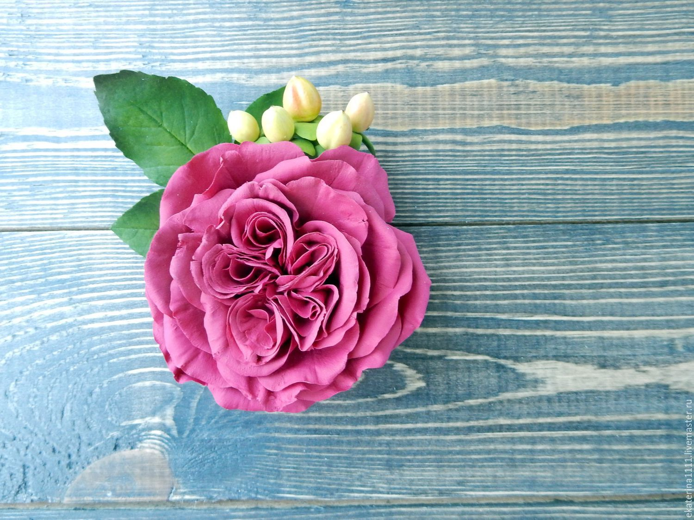 """Брошь """" Бордовая роза"""", Цветы, Санкт-Петербург,  Фото №1"""