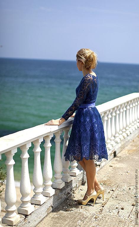 """Платья ручной работы. Ярмарка Мастеров - ручная работа. Купить платье """" Гера"""". Handmade. Тёмно-синий, мохер с шелком"""