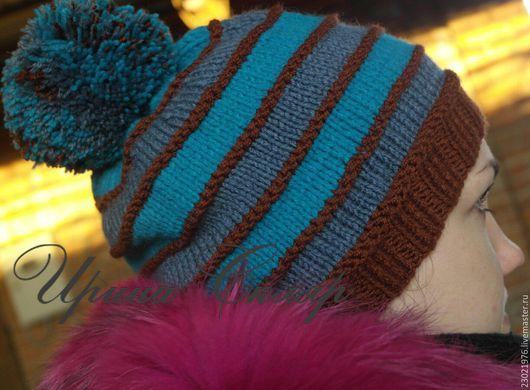 Шапки ручной работы. Ярмарка Мастеров - ручная работа. Купить шапка Полоски с помпоном. Handmade. Коричневый, шапка с помпоном, весна2016