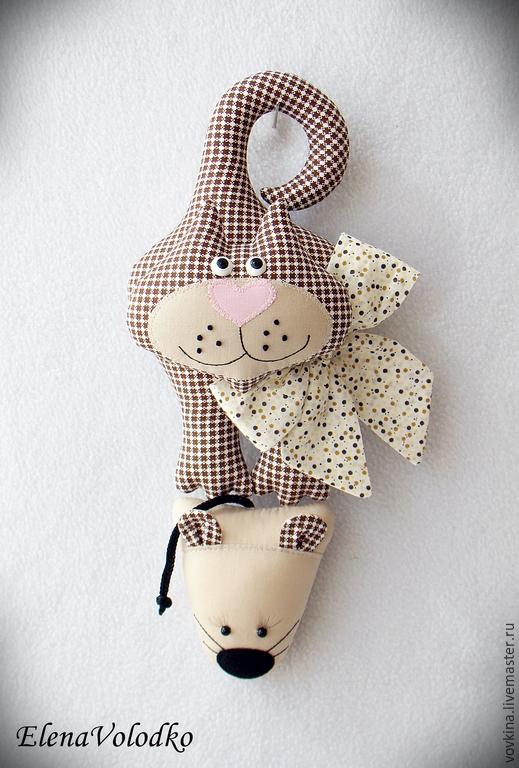 Игрушки животные, ручной работы. Ярмарка Мастеров - ручная работа. Купить Дверной декор - кошки - мышки 2. Handmade. Разноцветный