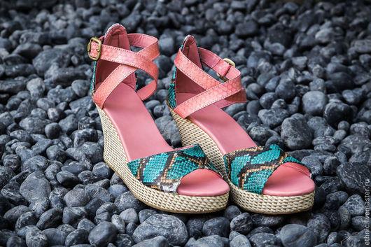 Обувь ручной работы. Ярмарка Мастеров - ручная работа. Купить Туфли из натуральной кожи питона Fiona. Handmade. Кремовый, босоножки