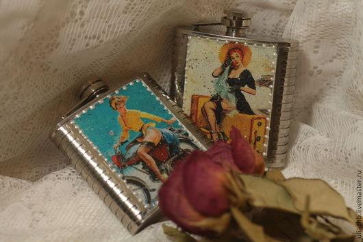 Персональные подарки ручной работы. Ярмарка Мастеров - ручная работа. Купить Пам-па-дам (фляжечки для дам в стиле пин-ап). Handmade.