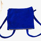 Сумки и аксессуары handmade. Livemaster - original item Backpack convertible genuine suede blue color art. 366. Handmade.