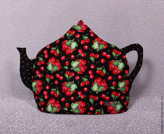 Кухня ручной работы. Ярмарка Мастеров - ручная работа. Купить Грелка для чайника ВИШЕНКИ. Handmade. Черный, подарок на новый год