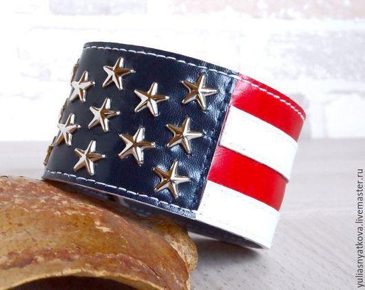 """Браслеты ручной работы. Ярмарка Мастеров - ручная работа. Купить Браслет """"Американский флаг"""".. Handmade. Разноцветный, натуральная кожа"""