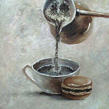 """Картины и панно ручной работы. Ярмарка Мастеров - ручная работа Картина с кофе """"Утренний кофе"""" - картина маслом. Handmade."""