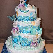 Работы для детей, ручной работы. Ярмарка Мастеров - ручная работа Торт большой для новорожденного малыша ( голубой ). Handmade.