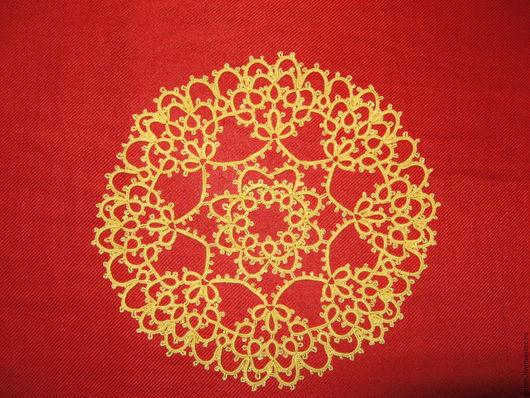 Текстиль, ковры ручной работы. Ярмарка Мастеров - ручная работа. Купить Салфетка для подарка диаметром 19 см в технике фриволите. Handmade.