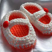 Работы для детей, ручной работы. Ярмарка Мастеров - ручная работа Мандаринки - яркие пинеточки для малышей и малышек. Handmade.