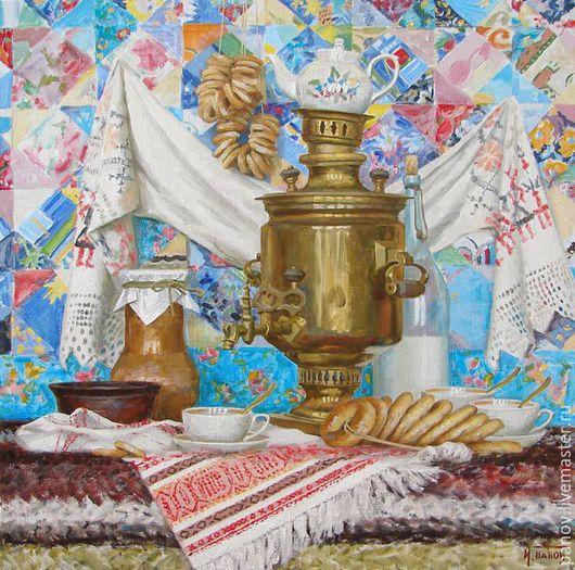 Натюрморт ручной работы. Ярмарка Мастеров - ручная работа. Купить Праздничное чаепитие. Handmade. Ярко-красный, самовар