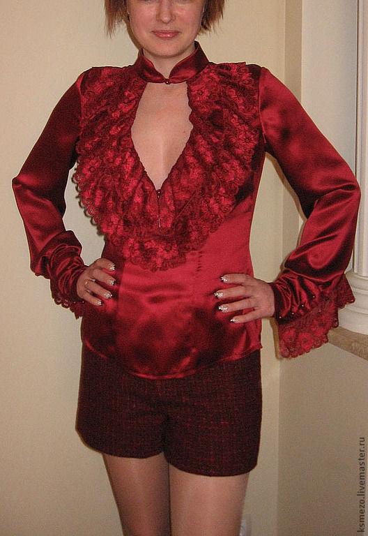 Блузки ручной работы. Ярмарка Мастеров - ручная работа. Купить Английская блуза Бордо с кружевом. Handmade. Великобритания, блузка из шелка