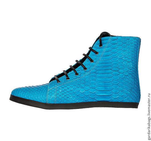 Обувь ручной работы. Ярмарка Мастеров - ручная работа. Купить Кеды из питона голубые СКИДКА 30%. Handmade. Голубой