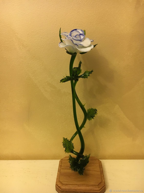 Стеклянная роза (бело-голубая), Статуэтка, Москва,  Фото №1