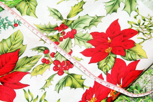 Шитье ручной работы. Ярмарка Мастеров - ручная работа. Купить США Новогодняя Рождественская ткань для пэчворка. Handmade.