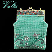 Classic Bag handmade. Livemaster - original item Handbag green with ornament. Handmade.