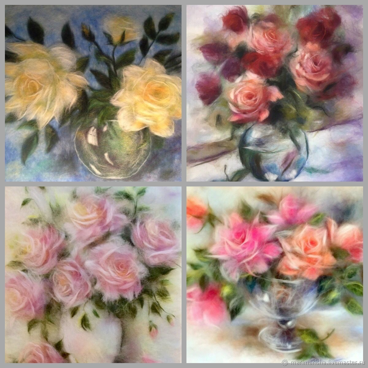 Set of video tutorials on paintings made of wool ' Roses», Courses and workshops, St. Petersburg,  Фото №1