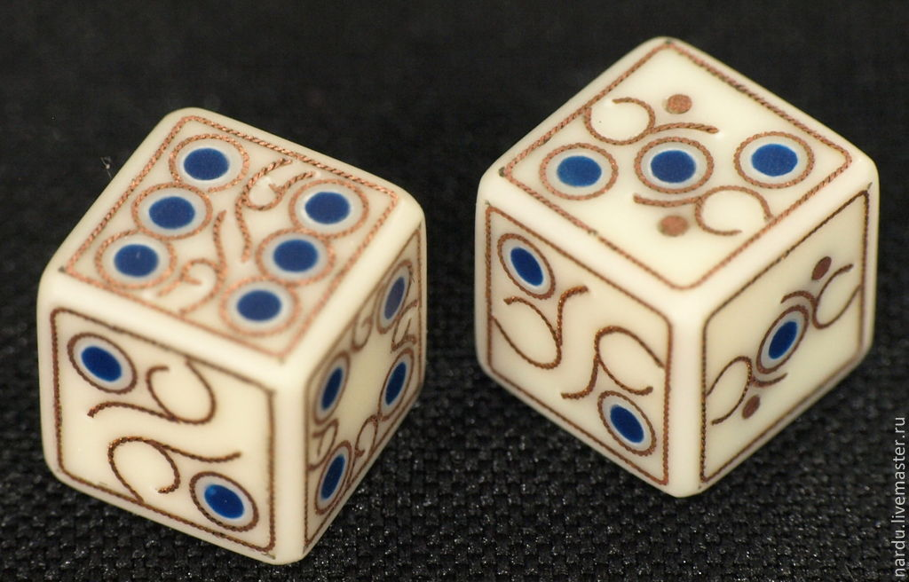Купить Кости игральные для нард - белый, кубики, зарики, зары IA96