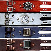 Украшения ручной работы. Ярмарка Мастеров - ручная работа кожаный браслет с 2-мя пряжками для часов. Handmade.