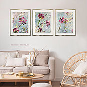 Картины и панно handmade. Livemaster - original item Triptych with wild flowers. Three oil paintings with pink flowers.. Handmade.