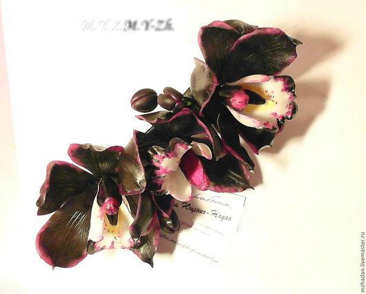 Заколка с черными орхидеями,заколка-автомат,заколка с цветами,черные орхидеи,авторские работы,ручная работа,керамическая флористика