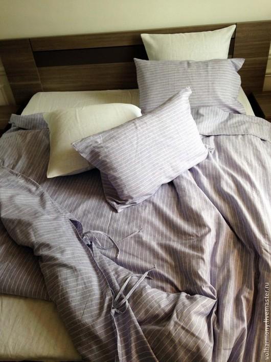 Текстиль, ковры ручной работы. Ярмарка Мастеров - ручная работа. Купить Постельное бель из льна. Евро размер.. Handmade. в полоску
