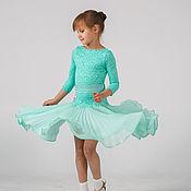 """Работы для детей, ручной работы. Ярмарка Мастеров - ручная работа Рейтинговое платье (Бейсик) для бальных танцев """"Mint Cloud"""". Handmade."""