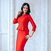 Одежда ручной работы. Ярмарка Мастеров - ручная работа Красный костюм  трикотажный. Handmade.