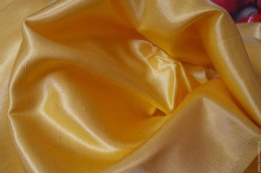 Шитье ручной работы. Ярмарка Мастеров - ручная работа. Купить Атлас желтый (вискоза-хлопок). Handmade. Желтый, вискозный, ткани