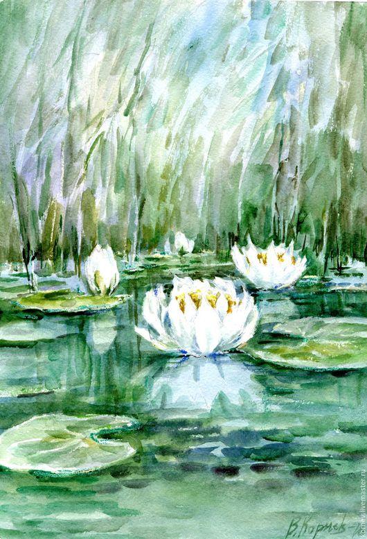 Пейзаж ручной работы. Ярмарка Мастеров - ручная работа. Купить Водные лилии. Handmade. Комбинированный, вода, лилии, листья, камыши