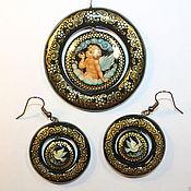Украшения handmade. Livemaster - original item Set of women`s jewelry with the author`s painting