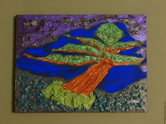 """Пейзаж ручной работы. Ярмарка Мастеров - ручная работа. Купить картина """"бонсай"""". Handmade. Комбинированный, холст на подрамнике, дерево, paverpol"""
