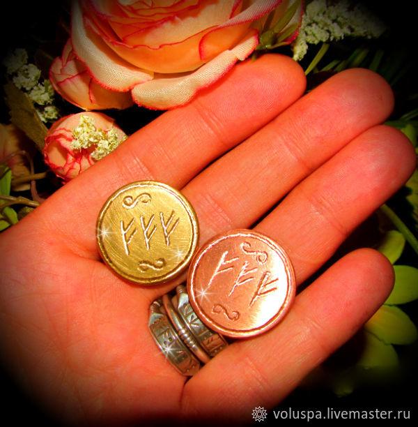 Talisman-coin 'Three Fehu', runic, purse, Amulet, Sochi,  Фото №1