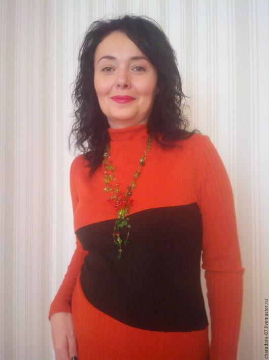 Платья ручной работы. Ярмарка Мастеров - ручная работа. Купить Ассемитричное оранжевое платье. Handmade. Рыжий, терракотовое платье