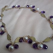 Украшения handmade. Livemaster - original item Necklace of pink pearls and natural amethyst. Handmade.