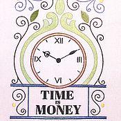 Для дома и интерьера ручной работы. Ярмарка Мастеров - ручная работа Вышивка Time is Money на декоративную подушку. Handmade.