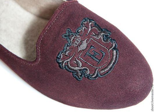 Обувь ручной работы. Ярмарка Мастеров - ручная работа. Купить Лоферы замшевые с вышивкой Brown. Handmade. Коричневый, лоферы