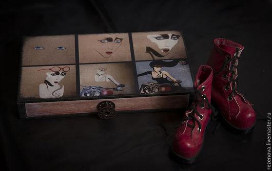 """Шкатулки ручной работы. Ярмарка Мастеров - ручная работа. Купить Шкатулка-купюрница """"Портрет"""". Handmade. Разноцветный, подарок девушке, мотоцикл"""
