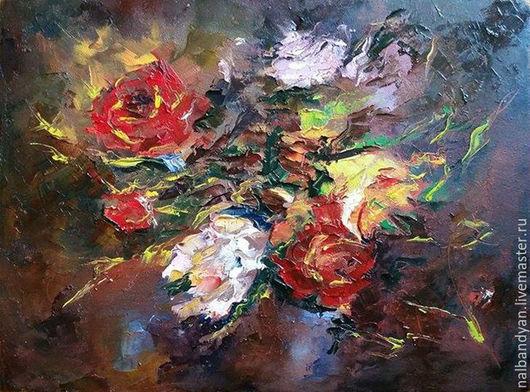 """Картины цветов ручной работы. Ярмарка Мастеров - ручная работа. Купить Картина """"Вечерний ноктюрн"""". Handmade. Комбинированный, цветы"""