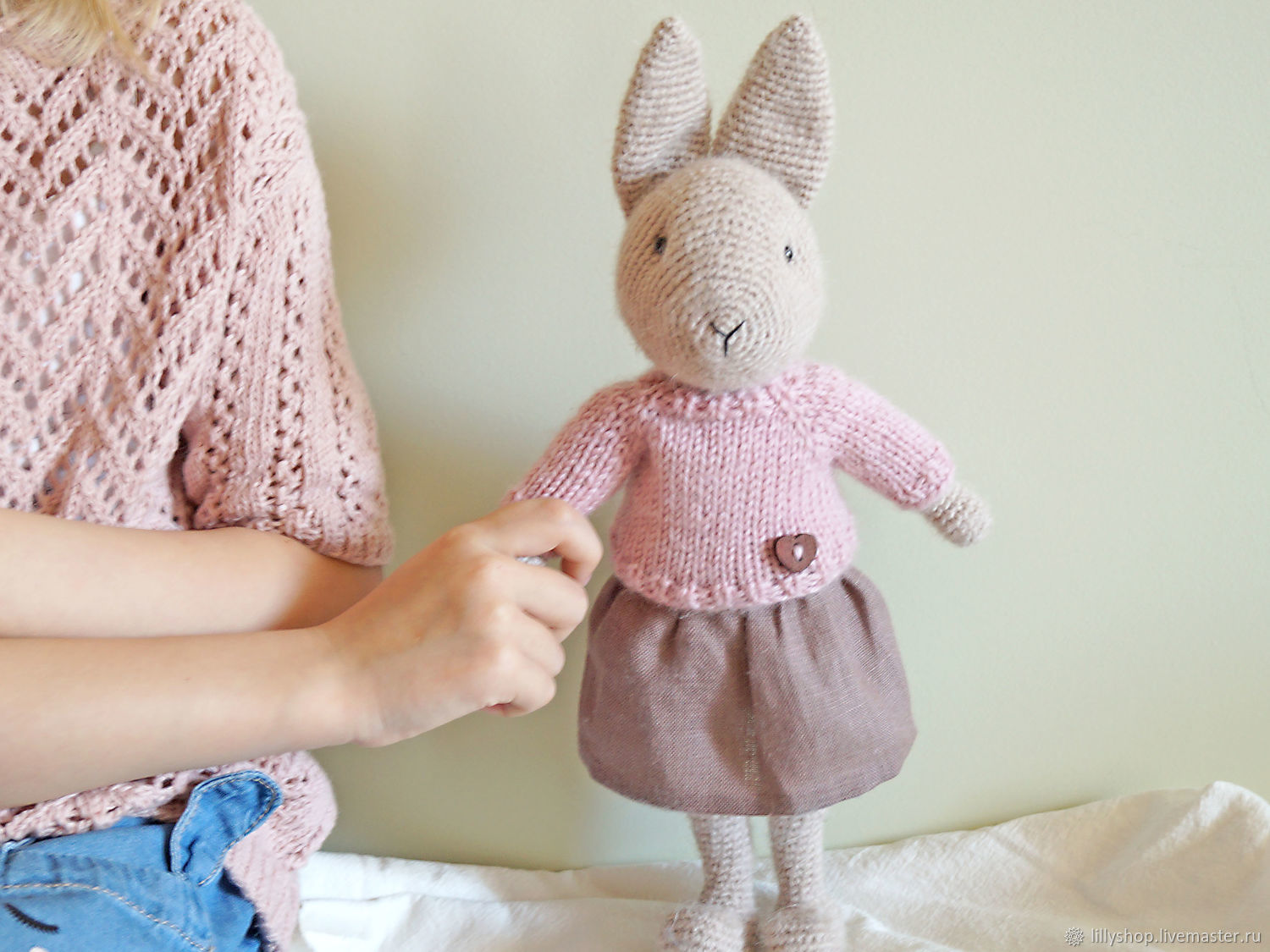 Hare toy handmade knitted - Patty, Stuffed Toys, St. Petersburg,  Фото №1