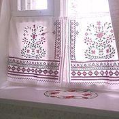 Для дома и интерьера handmade. Livemaster - original item Linen curtains Rustic for refectory with cross-stitch. Handmade.
