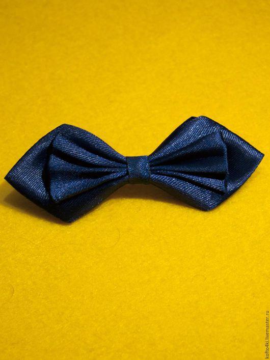 Галстуки, бабочки ручной работы. Ярмарка Мастеров - ручная работа. Купить Брошь галстук-бабочка атласная синего цвета. Handmade.