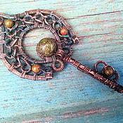 "handmade. Livemaster - original item Copper wire wrapped pendant ""Slavic Key"", copper, unakite, serpentine. Handmade."