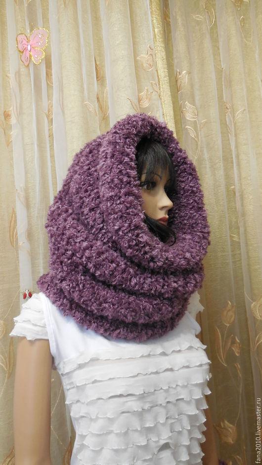 Шали, палантины ручной работы. Ярмарка Мастеров - ручная работа. Купить Комплект вязанный из меха снуд-шарф  и митенки Меховая пыльноя роза. Handmade.