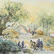 Картины и панно handmade. Livemaster - original item Watercolor Country road. Handmade.