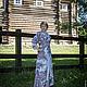 Платье длинное, Павловопосадский платок Рококо, линия талии завышена, полуприталено, под пояс, подкладка вискоза 100%, цвет серый. Платье  для всех случаев жизни: и в пир и мир, и в добрые люди.